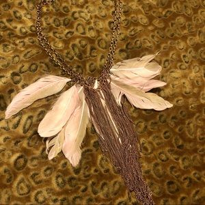 LUV AJ x LF Feather Fringe Boho Festival Necklace